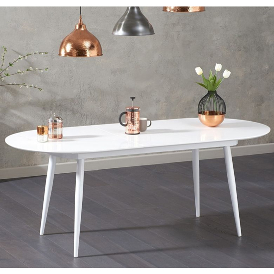 Keid Wooden Extending Dining Table In White High Gloss