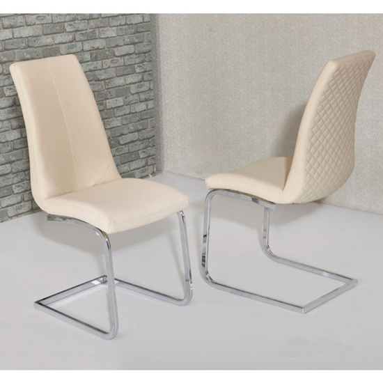 Orly Cream Faux Leather Dining Chairs In Pair