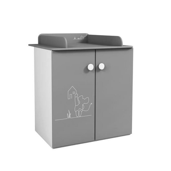 Kelby Chest Of Drawers In Pearl White And Grey With Changing Top_1