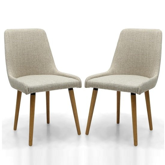 Kelcy Dining Chair In Natural Linen With Wooden Legs In A Pair