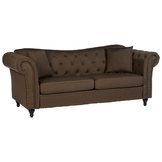 Kelly Chesterfield 3 Seater Sofa In Natural With Wooden Feet_1
