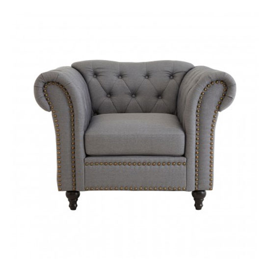 Kelly Chesterfield Fabric Armchair In Grey