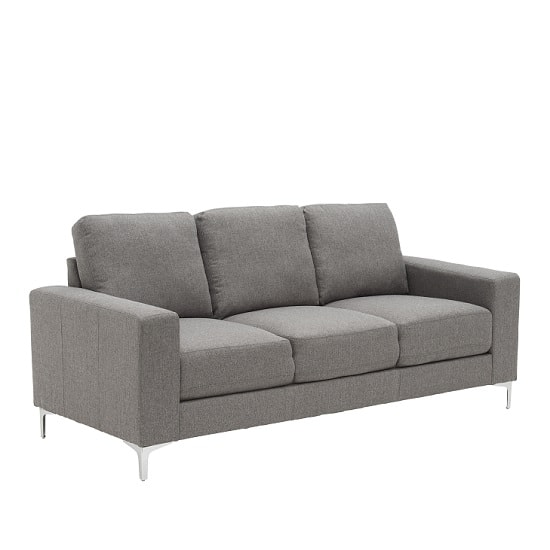 Kelsey Contemporary 3 Seater Sofa In Grey With Metal Legs