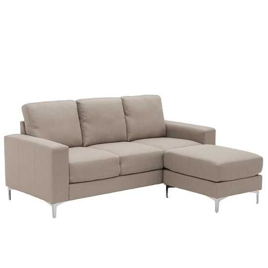 Kelsey Contemporary Corner Sofa In Oyster Fabric With Metal Legs