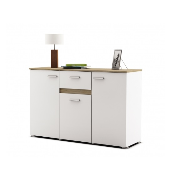 Kelso Sideboard In Pearl White And Brushed Oak With 3 Doors