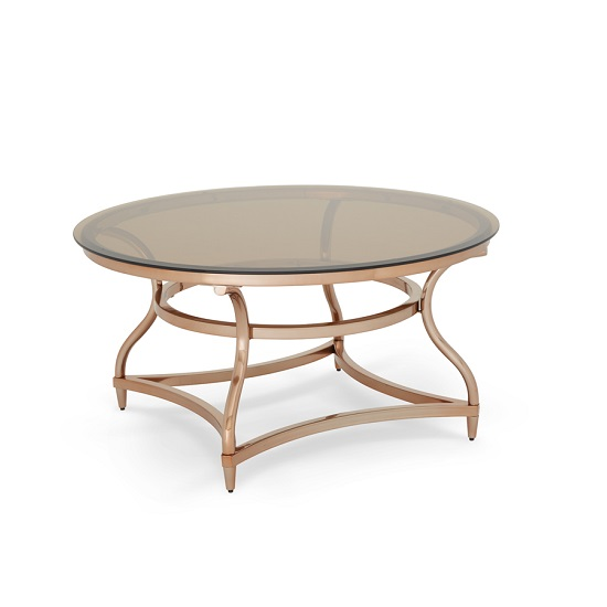 Kelso Coffee Table In Smoke Glass With Rose Gold Frame