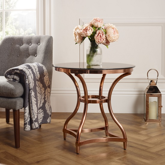 Kelso Lamp Table In Smoke Glass With Rose Gold Frame