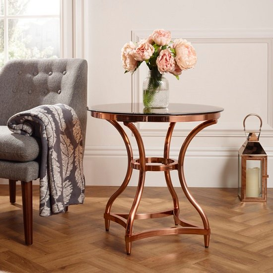 Kelso Lamp Table In Smoke Glass With Rose Gold Frame_1