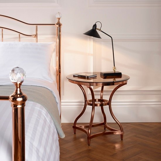 Kelso Lamp Table In Smoke Glass With Rose Gold Frame_2