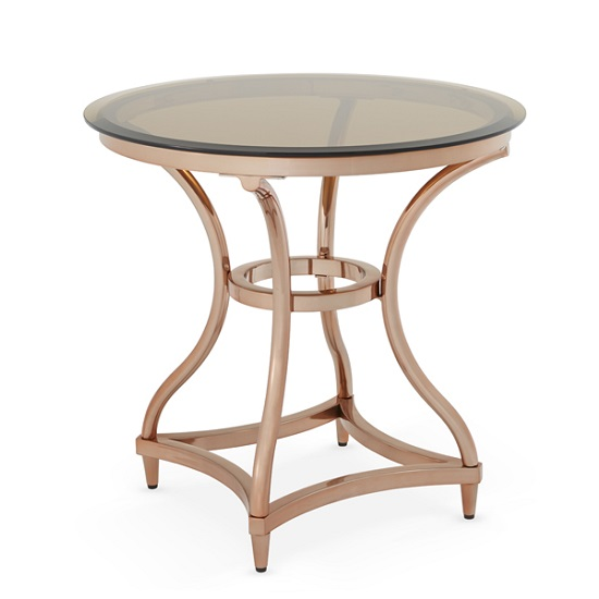 Kelso Lamp Table In Smoke Glass With Rose Gold Frame_3