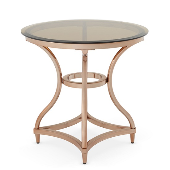Kelso Lamp Table In Smoke Glass With Rose Gold Frame_4