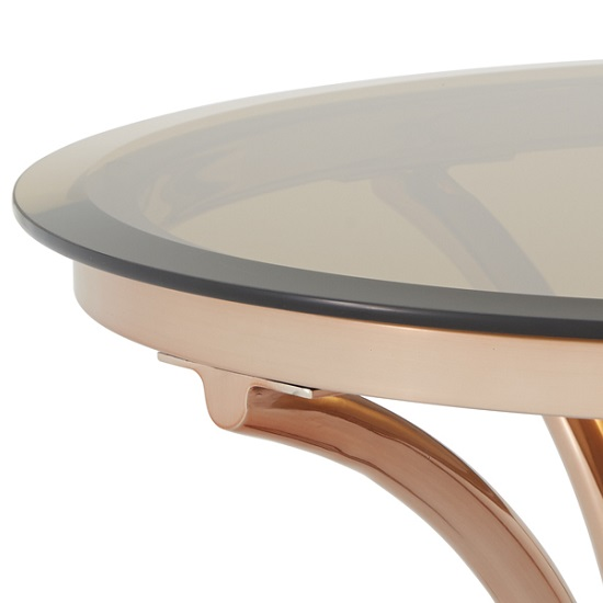 Kelso Lamp Table In Smoke Glass With Rose Gold Frame_6