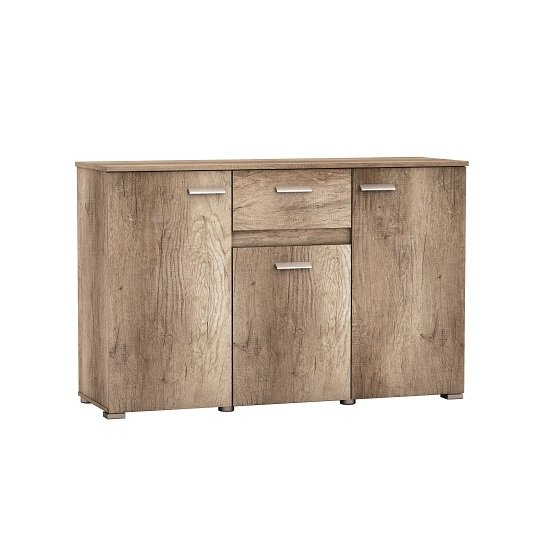 Kelso Wooden Sideboard In Monument Oak With 3 Doors