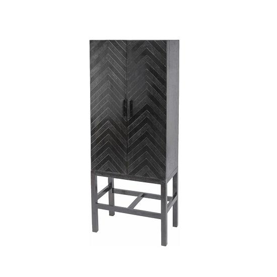 Kelso Metal Storage Cabinet In Dark Brown With 2 Doors