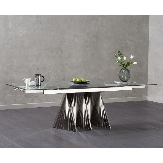 Kelson Extendable Glass Dining Table With Stainless Steel Base_1 ...