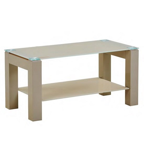 Kelson Glass Coffee Table Rectangular In Latte With Wooden Legs
