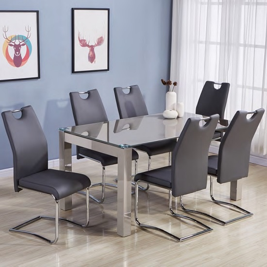 Kelson Glass Dining Table In Latte With 6 Grey Chairs
