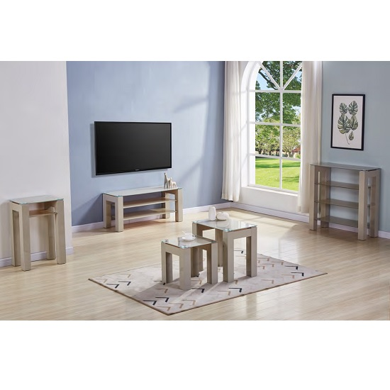 Kelson Glass TV Stand Rectangular In Latte With Wooden Legs_3