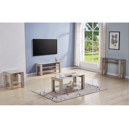 Kelson Glass Console Table Rectangular In Latte With Wooden Legs_2