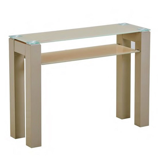 Kelson Glass Console Table Rectangular In Latte With Wooden Legs_1