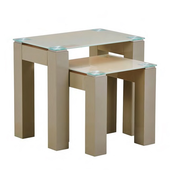 Kelson Glass Nest Of 3 Tables In Latte With Wooden Legs