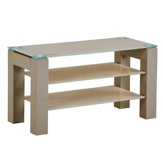 Kelson Glass TV Stand Small In Latte With Wooden Legs