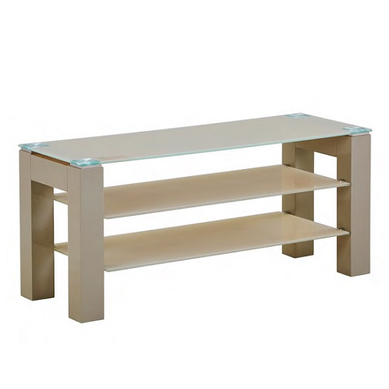Kelson Standard Glass TV Stand In Latte With Wooden Legs