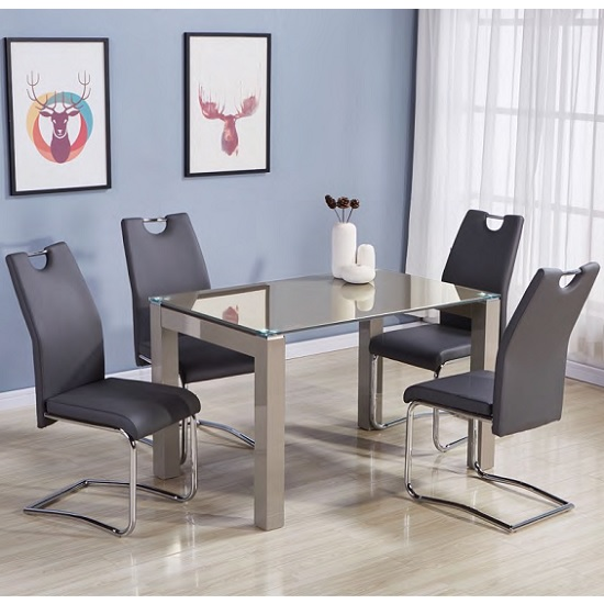 Kelson Glass Dining Table Small In Latte With 4 Grey Chairs