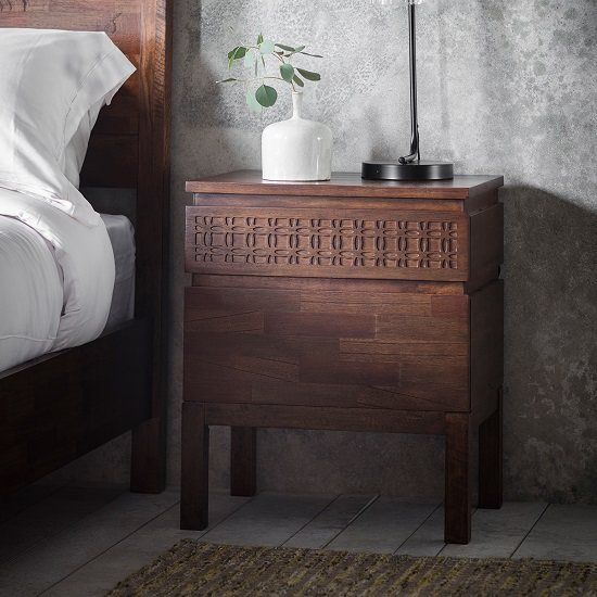 Kelton Retreat Wooden Bedside Cabinet In Mango Wood