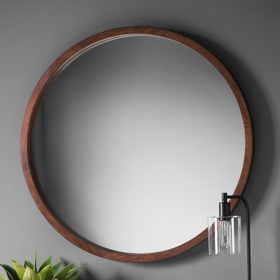 Kelton Retreat Wall Mirror Round In Mango Wood