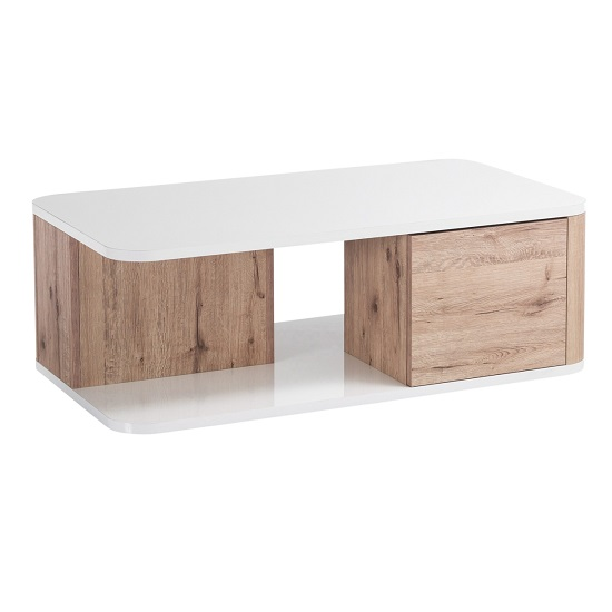 Kemble Coffee Table In Oak And White Lacquered Gloss_2