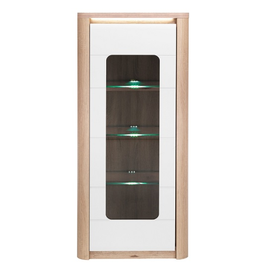 Kemble Glass Display Cabinet In Oak And White With LED_2