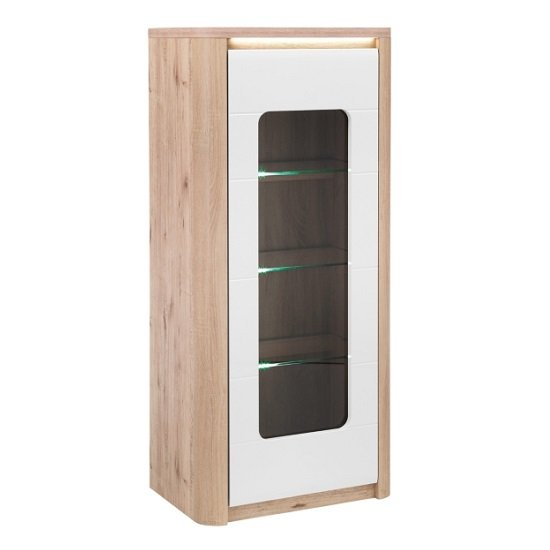 Kemble Glass Display Cabinet In Oak And White With LED