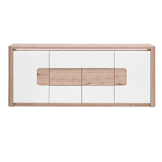Kemble Large Sideboard In Oak And White Lacquered With LED