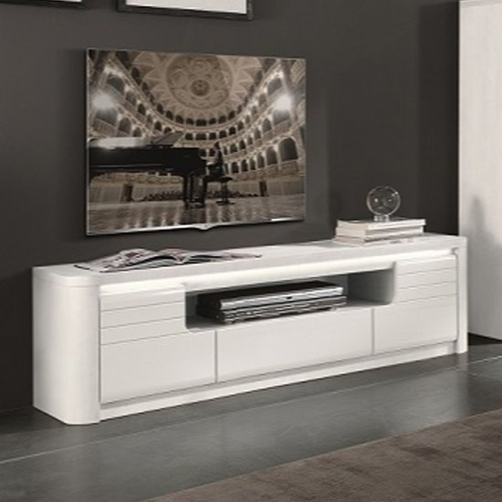 Kemble Large Wooden TV Stand In White High Gloss With LED