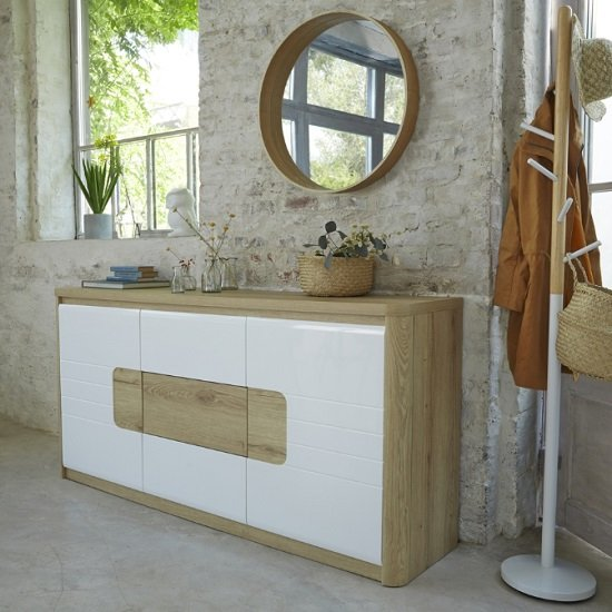 Kemble Small Sideboard In Oak And White Lacquered With LED_1