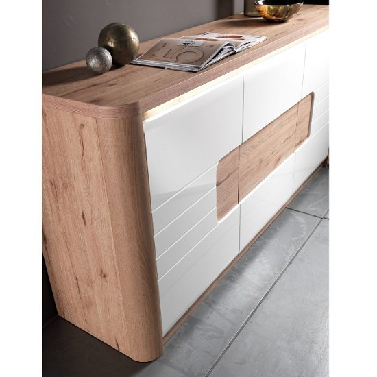 Kemble Small Sideboard In Oak And White Lacquered With LED_2