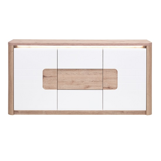 Kemble Small Sideboard In Oak And White Lacquered With LED_3