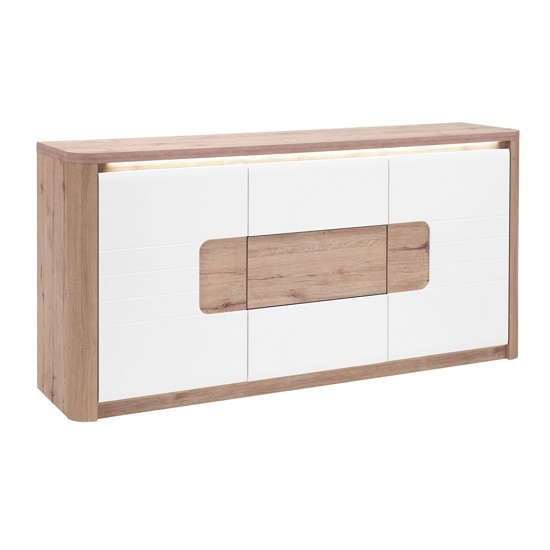 Kemble Small Sideboard In Oak And White Lacquered With LED_4