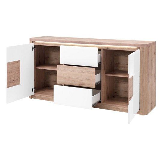 Kemble Small Sideboard In Oak And White Lacquered With LED_5