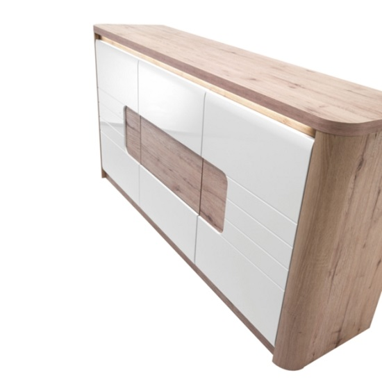 Kemble Small Sideboard In Oak And White Lacquered With LED_6