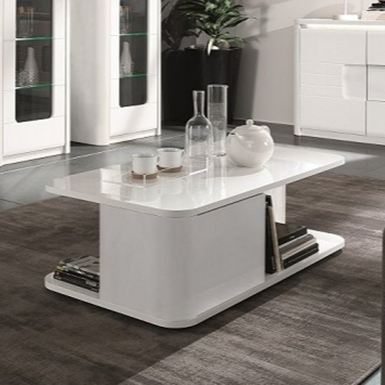 Kemble Storage Coffee Table In White High Gloss