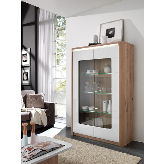 Kemble Wide Glass Display Cabinet In Oak And White With LED