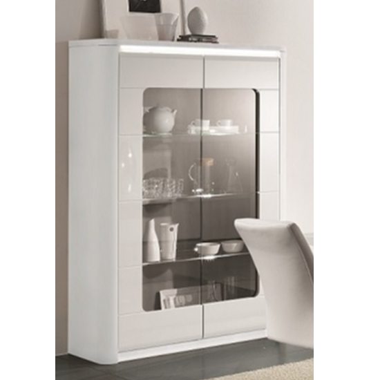 Kemble Wide Glass Display Cabinet In White High Gloss With LED