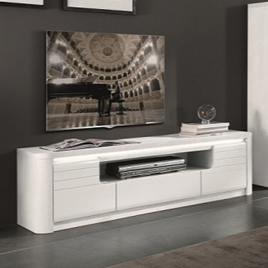 Kemble Wooden TV Stand In White High Gloss With LED