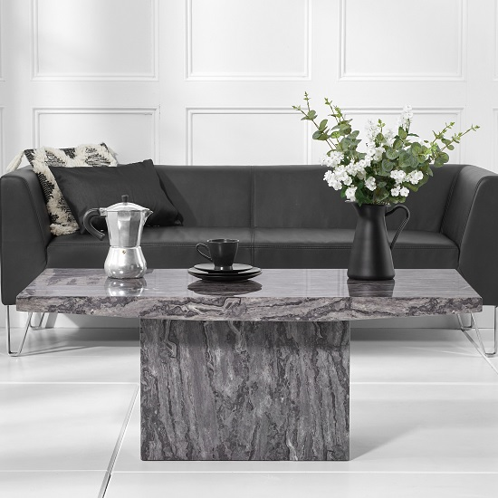 Kempton Marble Coffee Table Rectangular In Grey