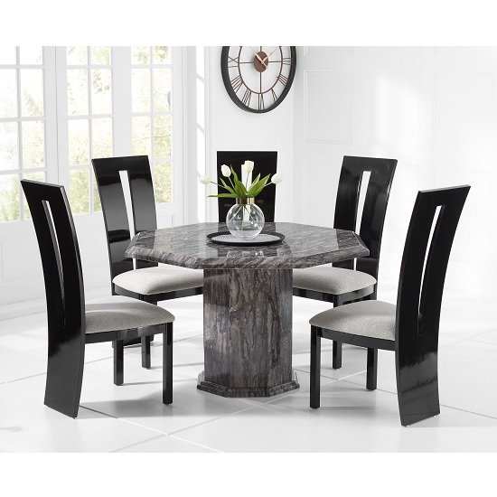 Kempton Grey Marble Dining Table Octagonal And 4 Ophelia Chairs