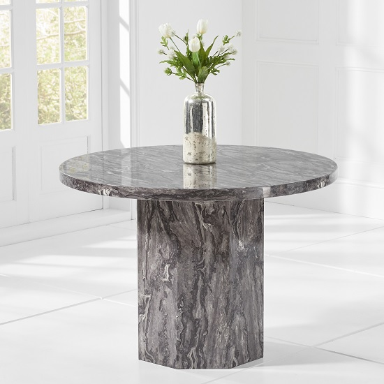 Kempton Marble Effect Dining Table Round In Grey