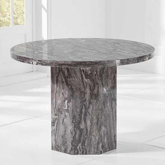 Kempton Marble Dining Table Round In Grey_2