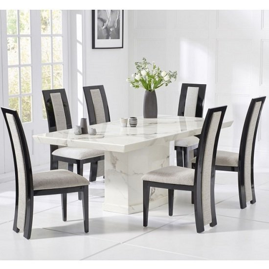Hamlet Marble Dining Table In White With 4 Allie Chairs